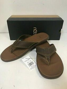 UGG Men's Seaside Flip Flop Luggage Leather Sandals - New