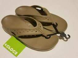 Men's Crocs Swiftwater Deck Flip Flop Sandal  Khaki/Stucco