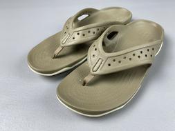 Crocs Men's Swiftwater Deck Flip Flops Size 11 Khaki 204961