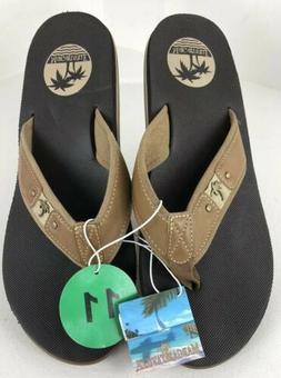 Margaritaville Mens Brown Leather Sandals Thong Beach Flip F