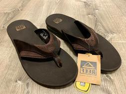 Mens Reef Fanning Leather Brown Sandals Flip Flops Size 11