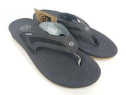 Reef Mens Flex Black Silver Brown Flip Flops Sandals Size 12