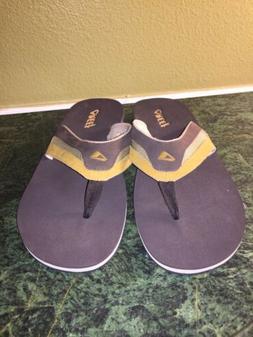 Reef Mens Flex Dark Brown Tan Flip Flops Sandals Size 14
