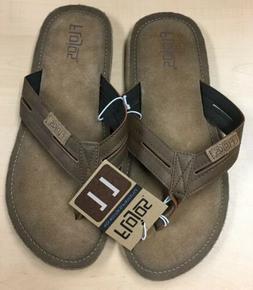 Flojos Mens Sandals Slippers Flip Flops Leather Brown Cognac