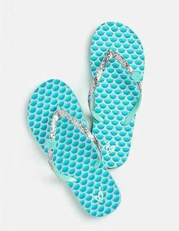 Justice Mermaid Charm Flip Flops Girls size S 2/3 NEW