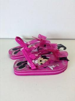 Minnie Mouse Girls Flip Flops Pink with Bow on Top And Back
