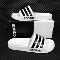 *NEW* Adidas Adilette Shower Men Slide White Black Stripes S