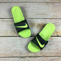 NEW Nike Benassi Solarsoft Men's Slides Black Volt Lime Flip