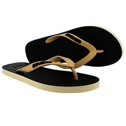 New Waves Black and Gold Twofold Real Rubber Flip Flops for