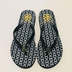 New Tory Burch Black/white Flip-Flops Slippers Size 5M