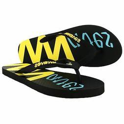 New Waves Black Yellow Blue Rubber Flip Flops for Men - Gym
