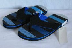 NEW Boys Flip Flops Size Large 2 - 3 Black Blue Sandals Summ