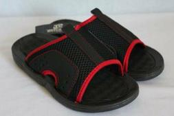 NEW Boys Flip Flops Size Medium 13 - 1 Red Black Slides Sand