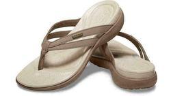 NEW Crocs Capri Basic Strappy Flip Flops Sandals-Tumbleweed/