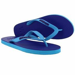 New Waves Electric Blue and Aqua Twofold Rubber Flip Flops f