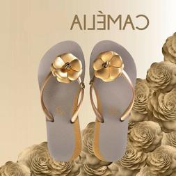 New Flip Flops for Women Gold Cream Thong Flats Sandals Beac
