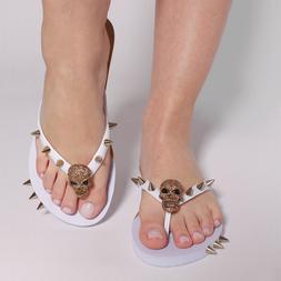 New Flip Flops for Women White Skull Thong Flats Sandals Bea