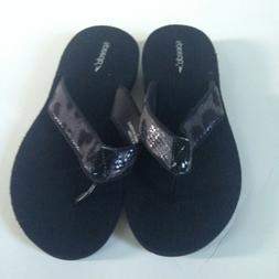 NEW! Speedo Flip Flops Women's Size 8 Gray Black Faux Snakes