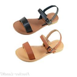 New Girls Kids Gladiator Strappy Flat Flip Flops Sandals Sho