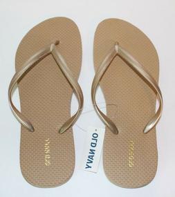 NEW OLD NAVY GOLD FLIP FLOPS Size 8 Beach Pool Thongs Sandal