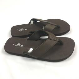 New J Crew Womens Leather Thong Flip Flops Size 8 Brown