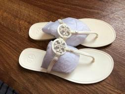 New Tory Burch Jelly Mini Miller Ivory Sandals Flip Flops 10