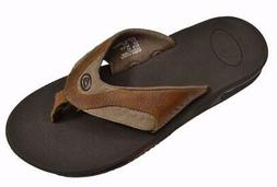 New Reef Leather Fanning Sandals/Flip Flops Brown Men's 13 T