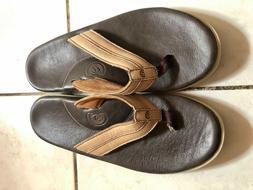 New Men Cobian Brown Tan Sandals Flip Flops Leather Size13 U