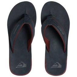 Quiksilver NEW Men's Carver Nubuck Flip Flops - Blue / Red /