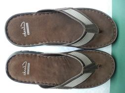 New Clarks Men's  Pettro Sun Brown Leather Flip Flops  , Siz