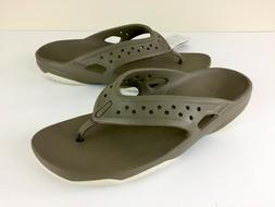 NEW Men Crocs Swiftwater Deck Flip Flop Sandal Khaki Tan Siz