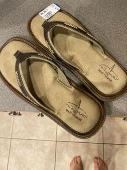 New Mens Blue Fin Tahiti Brown Tan Memory Foam Flip Flops Si