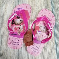 New HAVAIANAS size 2Y  pink snoopy big girl flip flops