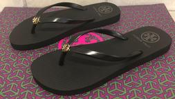 New Size 7 TORY BURCH Flip Flops Thin Strap Solid Black Flat