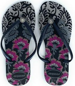 Havaianas New Slim Flip Flops Womens Sandals Black Dark Ash