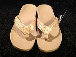 New Vionic slip on thong sandal wedge heel tan straps with g