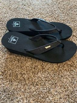 NEW! Reef Star HI Sandal Black Glitter Wedge Thong Flip Flop