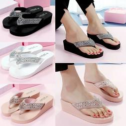 New Summer Women's Wedge Platform Thong Flip Flops Sandals B