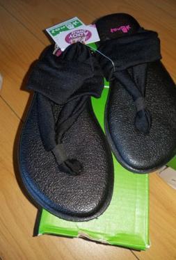 New Toddler Girls Black Sanuk Yoga Sling Burst Flip Flops, 1