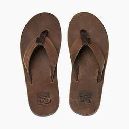New Reef Voyage Leather Sandals/Flip Flops Dark Brown Men's