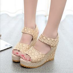 Fashion Summer Lace  Flip Flops High Heeled shoes Wedges san