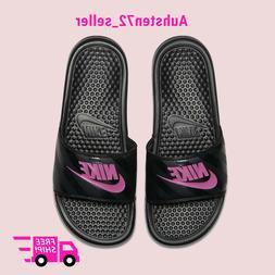 New Women_s Nike Benassi JDI Slides Sandals Flip-Flops Black