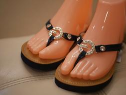 new women s blue jean flip flops