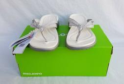 New Women's Crocs Capri Strappy Flip Flops Silver Metallic