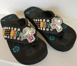 MONTANA WEST *NEW* Women's Flip Flops WESTERN Sandals Crysta