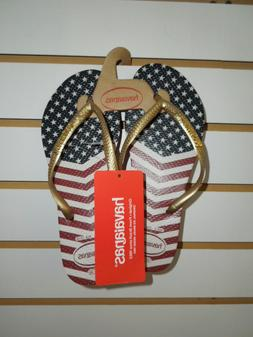 NEW-WOMEN'S HAVAIANAS FOR JULY 4th -ASST SIZES - RED,WHT, BL