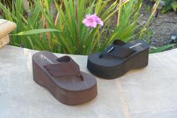 NEW Women's Platform T-Strap Sandals High Wedge Thick Flip F