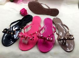 New Women's Sandal Thong Flip Flop Studded Bow Comfort Slipp