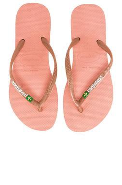 New, Women's Havaianas Slim Brazil Flip Flops Rose Nude , FR