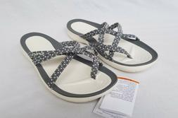 New Women's Crocs Swiftwater Braided Web Flip Flops 205728 0